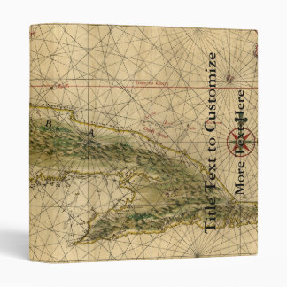 Historic 1639 Map of Cuba by Joan Vinckeboons 3 Ring Binder