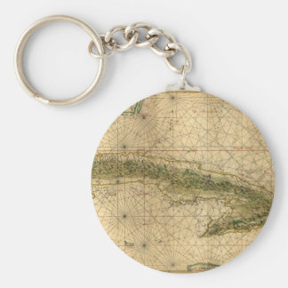 Historic 1639 Map of Cuba by Joan Vinckeboons Basic Round Button Keychain