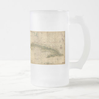 Historic 1639 Map of Cuba by Joan Vinckeboons Frosted Glass Beer Mug