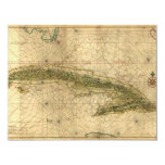 Historic 1639 Map of Cuba by Joan Vinckeboons 4.25x5.5 Paper Invitation Card