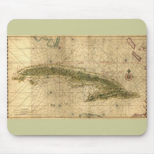 Historic 1639 Map of Cuba by Joan Vinckeboons Mouse Pad