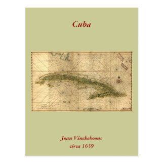 Historic 1639 Map of Cuba by Joan Vinckeboons Postcard