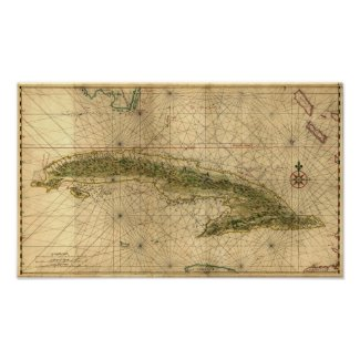 Historic 1639 Map of Cuba by Joan Vinckeboons Poster