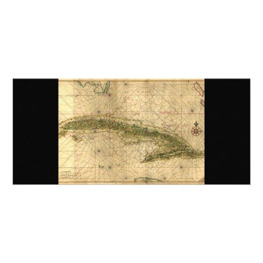 Historic 1639 Map of Cuba by Joan Vinckeboons Rack Card