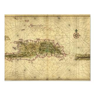 Historic 1639 Map of Hispaniola - Joan Vinckeboons Card