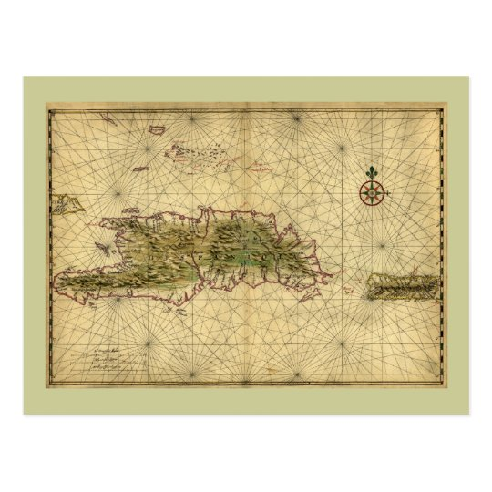 Historic 1639 Map of Hispaniola - Joan Vinckeboons Postcard
