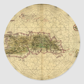 Historic 1639 Map of Hispaniola - Joan Vinckeboons Round Stickers