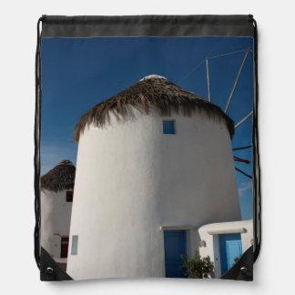 Historic 16th century Cycladic style windmills Drawstring Bag