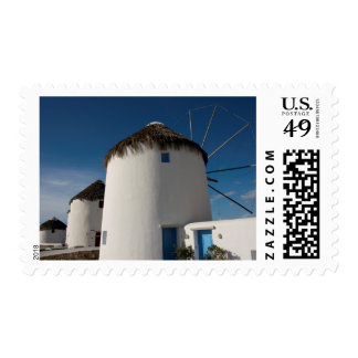 Historic 16th century Cycladic style windmills Stamp