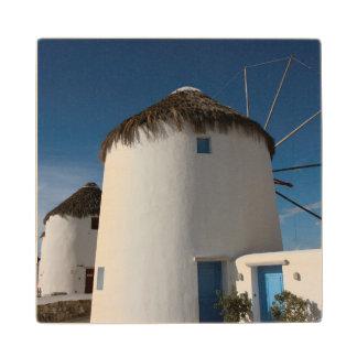 Historic 16th century Cycladic style windmills Wooden Coaster