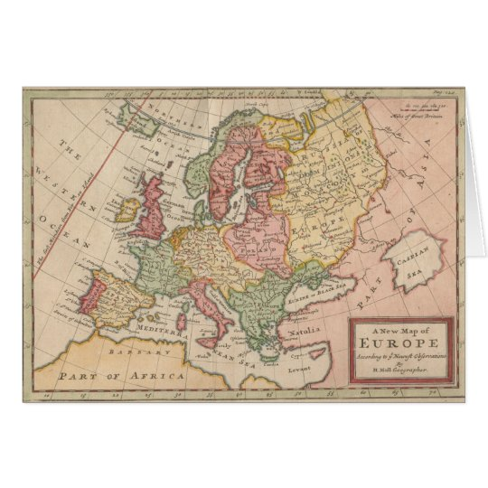 Historic 1721 Map of Europe Card