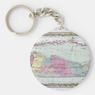Historic 1855-1857 Travellers Map of Long Island Basic Round Button Keychain