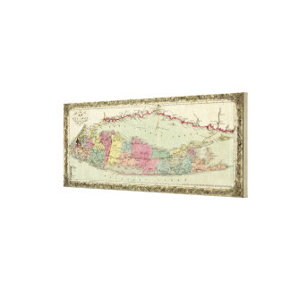 Historic 1855-1857 Travellers Map of Long Island Canvas Print