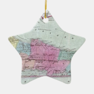 Historic 1855-1857 Travellers Map of Long Island Ceramic Ornament