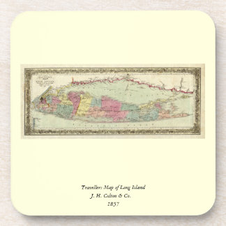 Historic 1855-1857 Travellers Map of Long Island Coaster