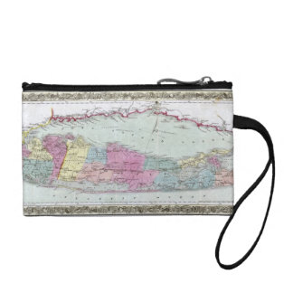 Historic 1855-1857 Travellers Map of Long Island Coin Purse