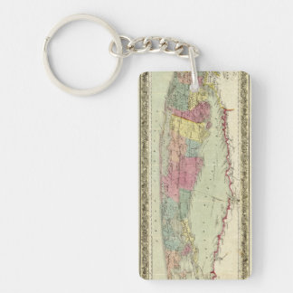Historic 1855-1857 Travellers Map of Long Island Double-Sided Rectangular Acrylic Keychain