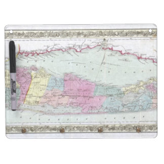 Historic 1855-1857 Travellers Map of Long Island Dry Erase Board With Keychain Holder