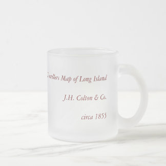 Historic 1855-1857 Travellers Map of Long Island Frosted Glass Coffee Mug