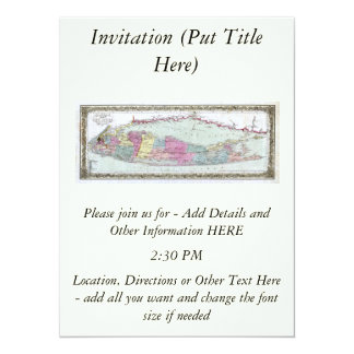 Historic 1855-1857 Travellers Map of Long Island Invites
