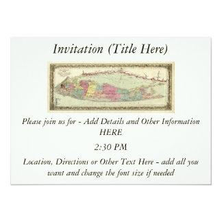 Historic 1855-1857 Travellers Map of Long Island Custom Invitation