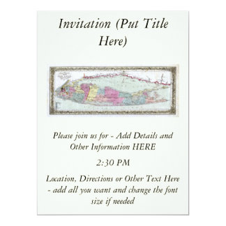 Historic 1855-1857 Travellers Map of Long Island 6.5x8.75 Paper Invitation Card