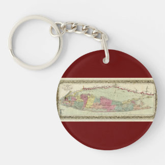 Historic 1855-1857 Travellers Map of Long Island Double-Sided Round Acrylic Keychain