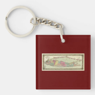Historic 1855-1857 Travellers Map of Long Island Double-Sided Square Acrylic Keychain