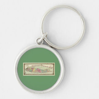 Historic 1855-1857 Travellers Map of Long Island Silver-Colored Round Keychain