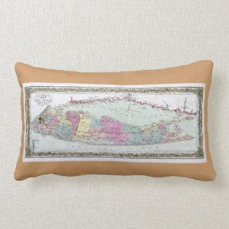 Historic 1855-1857 Travellers Map of Long Island Lumbar Pillow