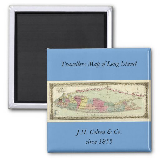 Historic 1855-1857 Travellers Map of Long Island Refrigerator Magnet
