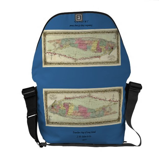 Historic 1855-1857 Travellers Map of Long Island Courier Bag