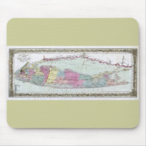 Historic 1855-1857 Travellers Map of Long Island Mouse Pad