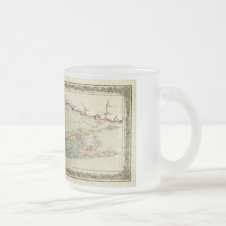 Historic 1855-1857 Travellers Map of Long Island 10 Oz Frosted Glass Coffee Mug