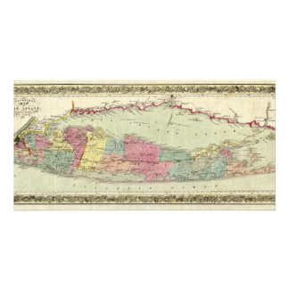 Historic 1855-1857 Travellers Map of Long Island Picture Card