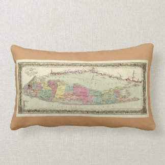 Historic 1855-1857 Travellers Map of Long Island Throw Pillows