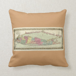 Historic 1855-1857 Travellers Map of Long Island Throw Pillow