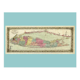 Historic 1855-1857 Travellers Map of Long Island Postcard