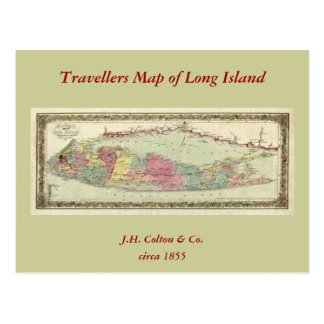 Historic 1855-1857 Travellers Map of Long Island Postcards