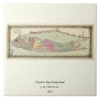 Historic 1855-1857 Travellers Map of Long Island Tile