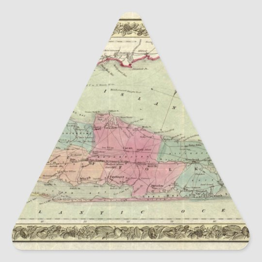 Historic 1855-1857 Travellers Map of Long Island Triangle Sticker