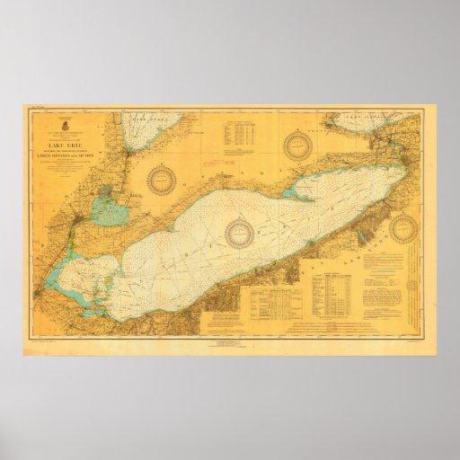 Historic 1918 Nautical Lake Erie chart poster