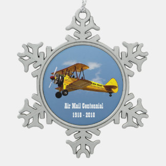 Historic Air Mail Service Centennial Snowflake Pewter Christmas Ornament