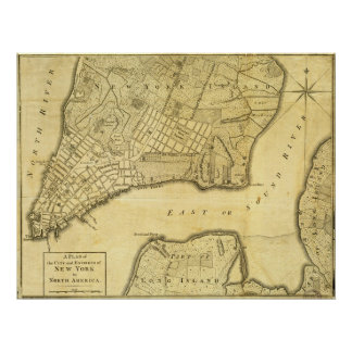 Historic American Map of New York City in 1776 Poster