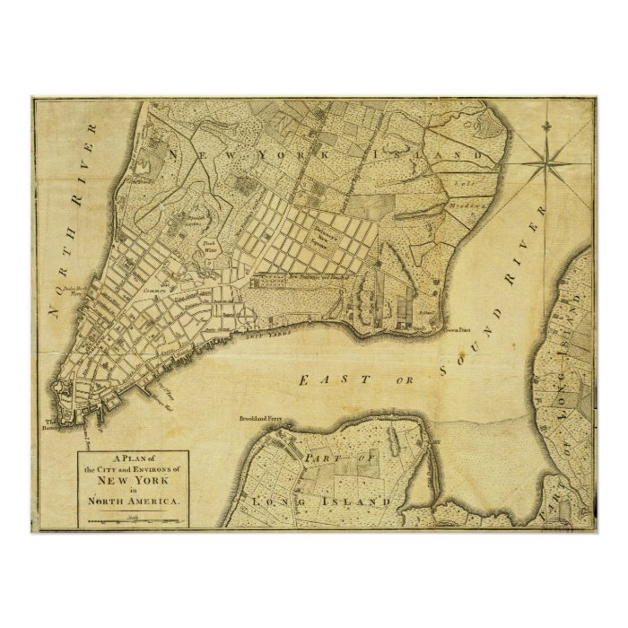Historic American Map Of New York City In 1776 Poster  Zazzle