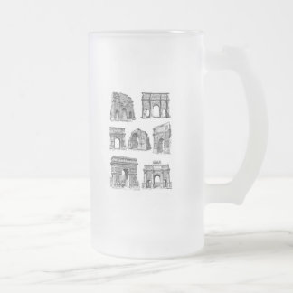 Historic Arches Frosted Glass Beer Mug