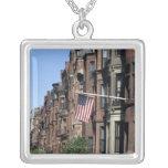 Historic back Bay Area, Boston, Massachusetts Square Pendant Necklace