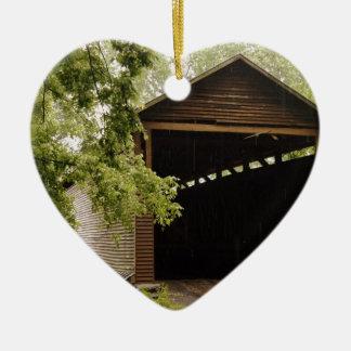 Historic Bridge Double-Sided Heart Ceramic Christmas Ornament