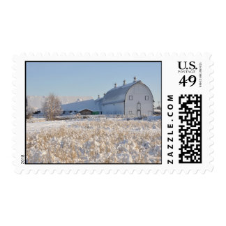Historic Creamer's Dairy Farm in Winter - Alaska Postage Stamp