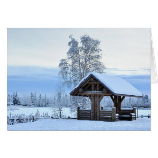Historic Dairy Farm Field in Winter - Alaska Card